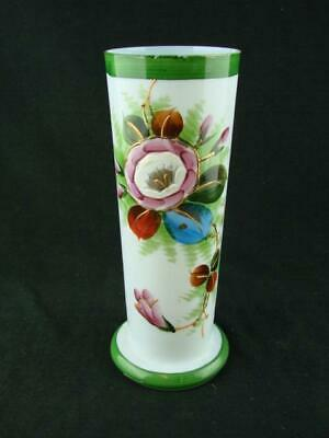 Victorian Fine Glass Vase, Hand Painted & Enamelled Floral Decoration, 21Cm Tall