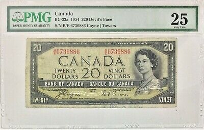 1954 Bank of Canada Devils Face $ 20 Coyne | Towers B/E Prefix PMG VF 25 #35678