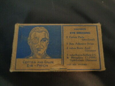 2 Authentic WWII WW2 NOS Eye Injury Bandage Kit First Aid Medic Bag Pouch