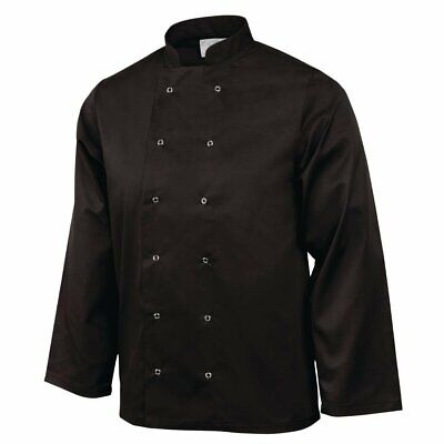 Whites Vegas Chefs Jacket with Long Sleeves in Black - Polycotton - M