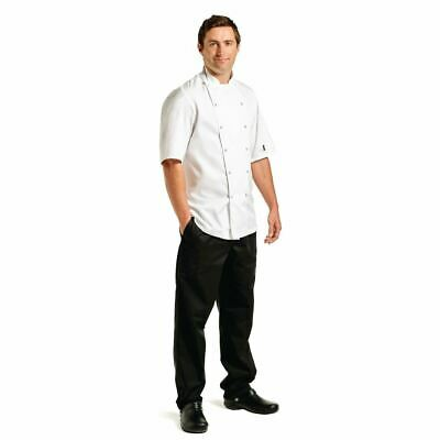 Le Chef Premium Short Sleeve Executive Chefs Jacket Cotton Uniform White Size 42