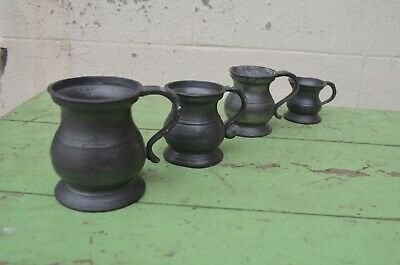 Collection Of 4 Antique Pewter Measures Jugs Half Gill With Makers Stamps