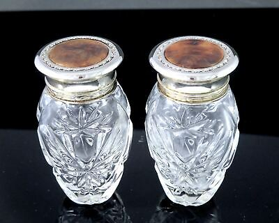 Pair Vintage RALPH LAUREN VANITY CRYSTAL CUT GLASS BOTTLES Faux Burl Tops
