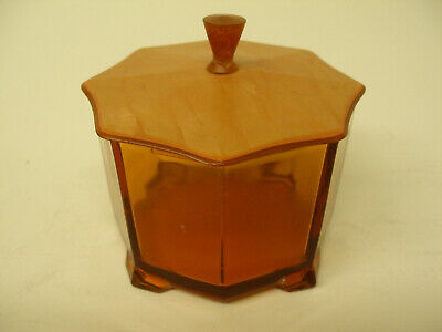 Antique Art Deco 8 Sided Octagon Glass Vanity Powder Trinket Box Celluloid Lid