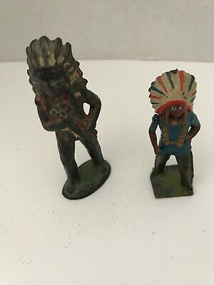 """Vintage  2 Cast Iron METAL INDIAN CHIEF Figure, Figurine 2 1/2"""" High, Other 3"""""""