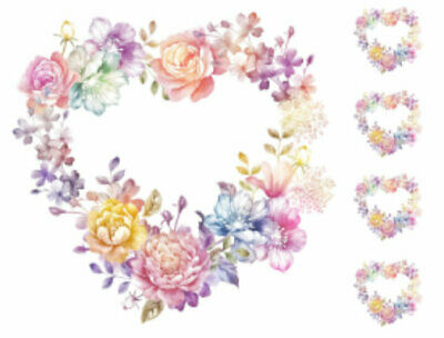Shabby Soft Color Hearts of Roses and Flowers Transfers Waterslide Decals FL449