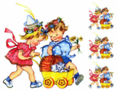 Vintage Image Retro Boy And Girl Baby Carriage Kitten Waterslide Decals KID422