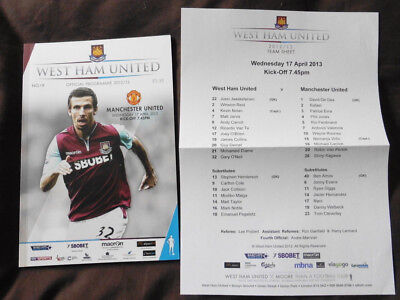 2013 West Ham v Manchester United WITH Teamsheet Official issue 17/04/13 2012-13