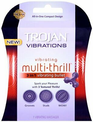 TROJAN Vibrations Compact Vibrating Multi-Thrill 3-in-1 Bullet Massager NEW