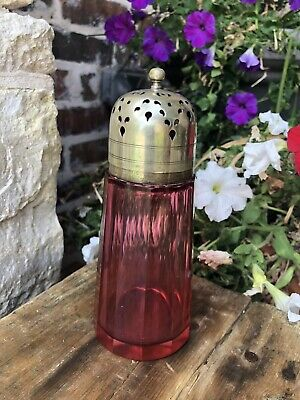 Antique English Cranberry Glass 12-paneled Sugar Shaker Muffiner EPNS c1900's