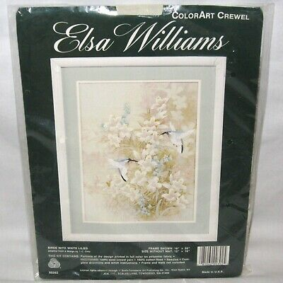 Elsa Williams ColorArt Crewel Embroidery Birds with White Lilies Kit 00392