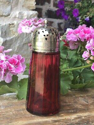 Antique English Cranberry Ruby Glass Sugar Shaker Muffiner Silver Lid EPNS c1900
