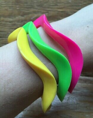 Trio Of Retro Neon Pink/Yellow/Green Skinny Plastic Bangles/Stacking/Kitsch/80's