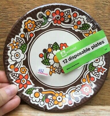 Vintage Old Paper Plates/Disposable/Floral Design/1960's/70's Kitsch/Woolworths