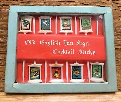 Vintage Old English Inn/Pub Themed Cocktail Sticks/4 Canapés/Boxed/1960's Kitsch