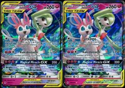 Ultra Rare NM Sun /& Moon Unbroken Bonds Gardevoir /& Sylveon GX 130//214