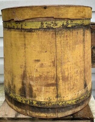 Antique Mincemeat Bucket Primitive Wood Pail, Old Mustard Paint,