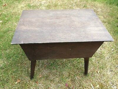 Vintage Antique Wooden Brown Wood Sewing Craft Box Lid 4 Legged Legs Plain