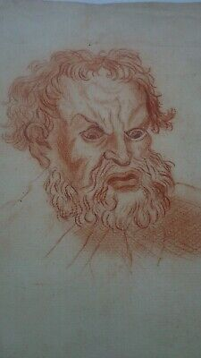 Antique 18th century French Masters red chalk drawing painting signed portrait