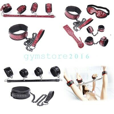 Slave Spreader Bar Handcuff Ankle Cuffs Collar Restraints Kit Mouth Gag Bondage