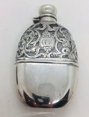 Antique Sterling Silver & Glass Liquor Flask