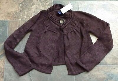 NWT Gap Kids Size L 10 Brown Sweater Cardigan Chocolate