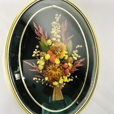Vintage dried flower Bouquet convex picture Oval frame baby Breath Mid Century
