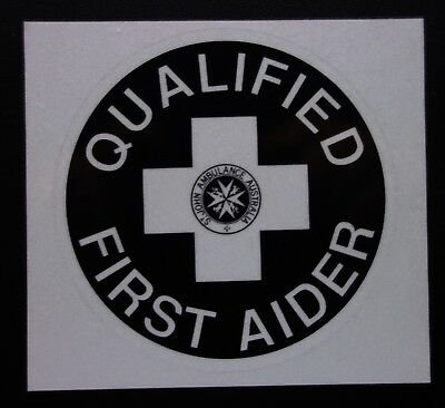 St John Qualified First Aider Reflective Sticker Decal
