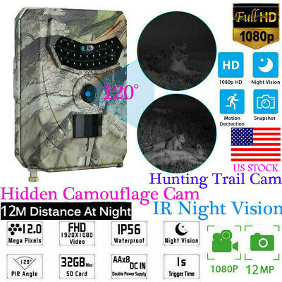 1080P HD 12MP Hunting Trail Camera Video Wildlife Scouting IR Night Vision Cam
