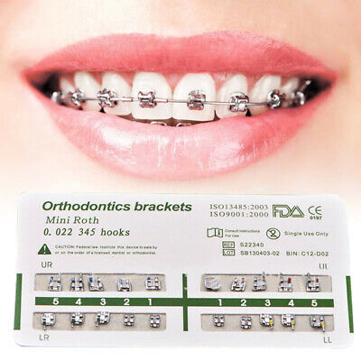 20PCS Dental Orthodontic Ultrathin Metal Brackets Roth 345 Hooks Teeth Health