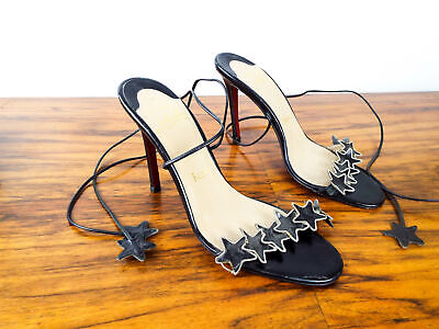 """Authentic Christian Louboutin Black Star Sandals 4.5"""" Heel Shoes Size 38 US 7"""