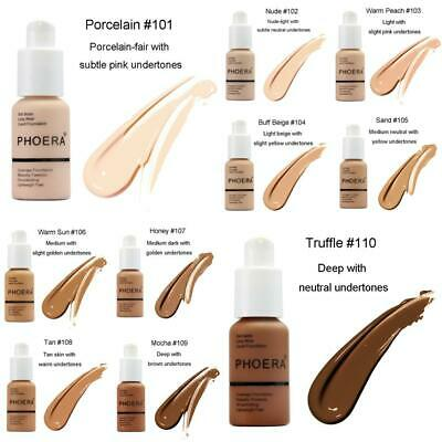 PHOERA Soft Matte Oil Full Coverage Liquid Foundation Concealer Longlasting 30ML