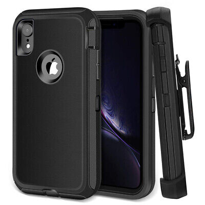 For iPhone X XS MAX XR Shockproof Rugged Armor Case Clip fits Otterbox Defender