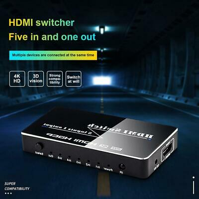 4K 1080P 5 Port HDMI HDTV Auto Switch Switcher Selector Splitter Hub iR Remote F