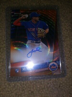 2019 Topps Finest Jeff McNeil ORANGE WAVE AUTO RC NEW YORK METS 23/25