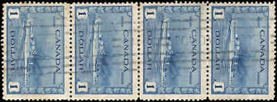 Used Canada 1942 STRIP OF 4 $1.00 Scott #262 King George VI War Issue Stamps