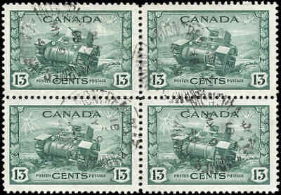 Used Canada 1942 BLOCK OF 4 13C Scott #258 King George VI War Issue Stamps