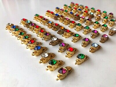 Lot of 70 GOLD PLATED Baby Shoe Boot Birthstone Crystal Charm Junk Drawer Find