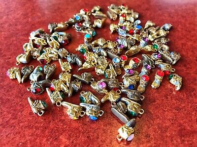 Lot of 100 GOLD PLATED Baby Shoe Boot Birthstone Crystal Charm Junk Drawer Bulk