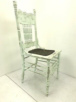 Vintage Antique Wood Dining Chair - Distressed Teal & Leather Seat bottom