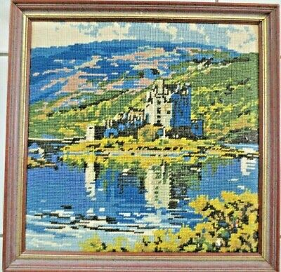 Tapestry Craft Hand Made Picture Completed & Framed Castle On River