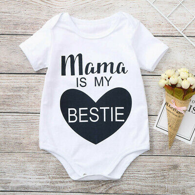 Newborn Infant Baby Girls Boys Letter Print Tops Bodysuit Romper Casual Clothes