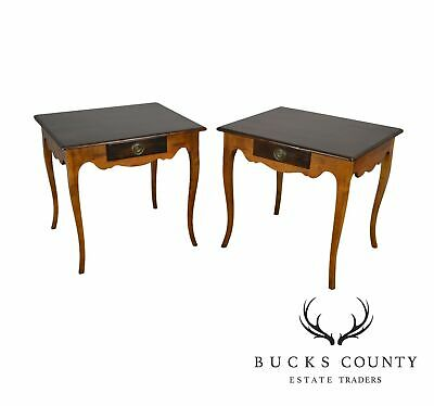 Baker Milling Road French Country Style Pair One Drawer Side Tables