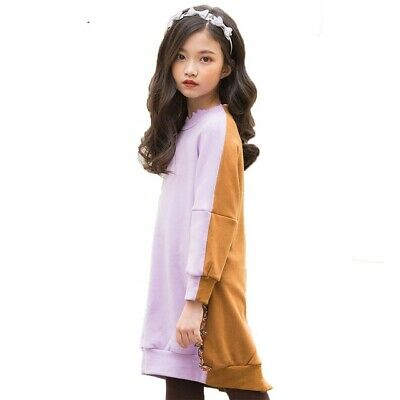 Kid Long Sleeve Autumn Dress Casual Girls Clothes Wear Patchwork Sweater Dresses