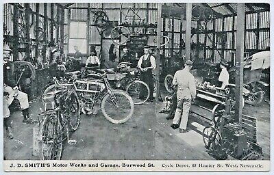 C1908 Npu Rare Postcard Smith's Motor Cycle & Auto Works Newcastle Nsw D12