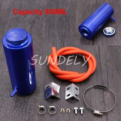 800ml Blue Cylinder Radiator Overflow Reservoir Coolant Cooling Tank Can New!