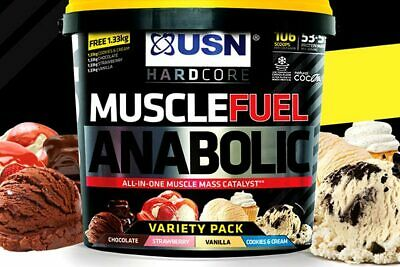 USN Muscle Fuel ANABOLIC 4 kg + 1.33 kg - All In One Free Variety Weight Gainer