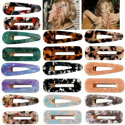 Fashion Women Geometric Hollow Acrylic Hair Clips Snap Barrette Stick Hairpin
