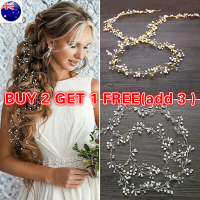 Pearl Crystal Wedding Hair Vine Bridal Tiara Hair Accessories Diamante Headband~