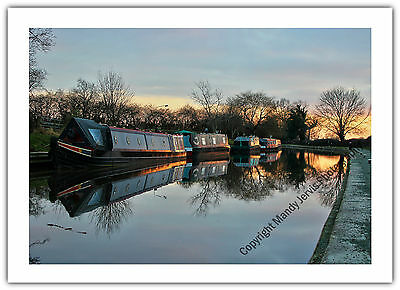 Greetings Card Birthday / Blank Notelet - Canal Narrow Boats Boating Holiday